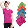 S-XL 5 Cores das Mulheres de Secagem Rápida Curto T-Shirt Roupas de Ginástica para Mulheres T-shirt Higroscópico Fina T-shirt das mulheres Topos