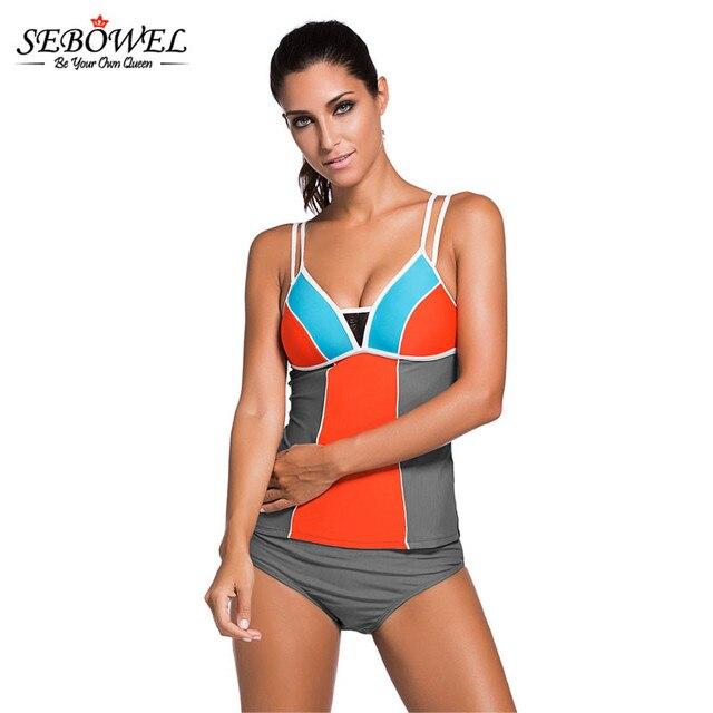 54983b76a1cdd SEBOWEL 2018 Sexy Women Tankini Swimsuit Two Pieces Swim wear Splice Color  Block Bathing Suit Plus Size Female Beachwear Bikinis