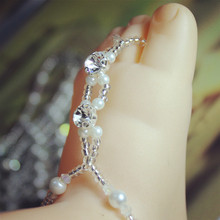 1 year old pearl & rhinestone baby 's  barefoot sandals  1 pair(2 single piece) per lot   adjustable size kids foot jewelry