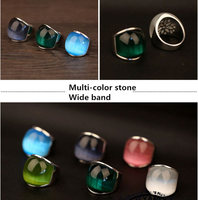 Multi Color Vintage Pink White Black Blue Green Opal Stone Wide Band Ring Men Women In