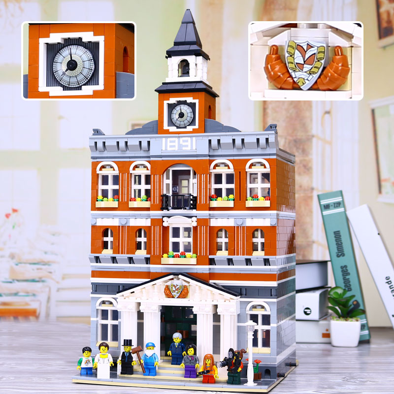 New Lepin 15003 Creators series the town hall model Building Blocks set compatible legoed 10224 classic house Architecture toy 4695pcs lepin 16001 city series firehouse headquarters house model building blocks compatible 75827 architecture toy to children
