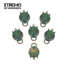 6pcs/lot Anime Green Bronze Color Nanaki Red XIII Wolf Charms Pendants For Necklace Making Jewelry Findings DIY Accessory