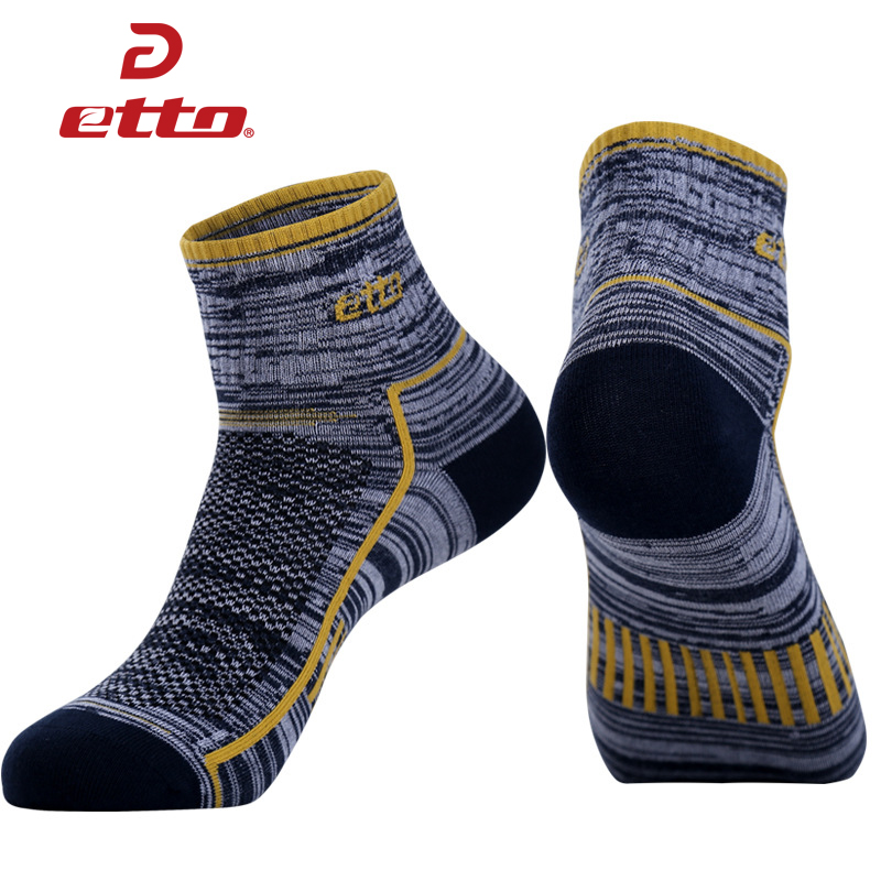 ETTO 3 Pairs / Lot Quality Cotton Running Cycling Socks Men Comfy Breathable Soccer Basketball Socks Sports Athletic Sox HEQ016 ...