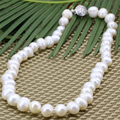 2 style hot sale 10-11mm thread natural white freshwater pearl beads charms chain choker necklace for women jewelry 18inch B3186