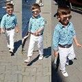Bebê meninos roupas definir primavera roupas menino de algodão do bebê menino definir ternos de casamento para meninos traje do bebê camisa Xadrez + calças brancas