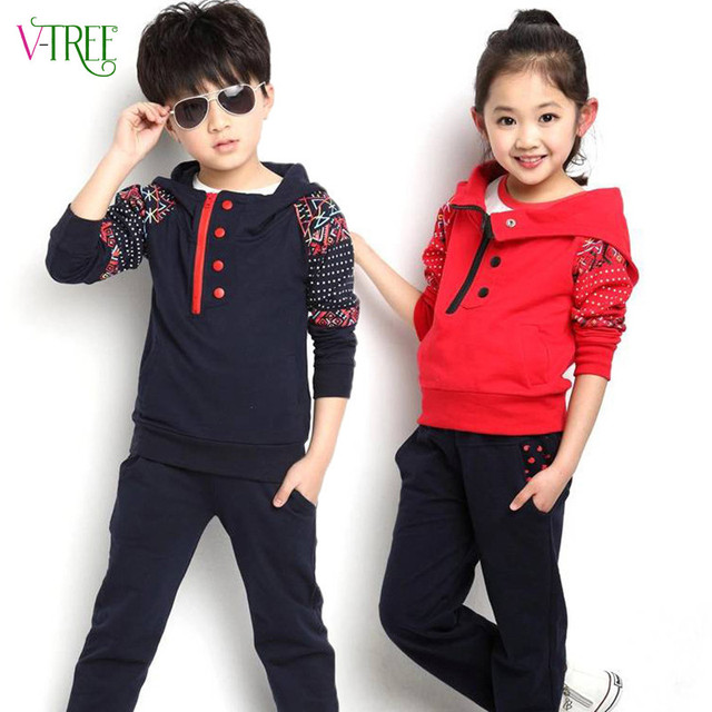 New spring autumn boys girls clothing sets fashon children kids hoodies + pants sports suit kids casual tracksuit dark blue red