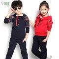 Nova primavera outono roupas das meninas dos meninos define crianças fashon crianças hoodies + calças crianças terno esportes treino ocasional azul escuro vermelho