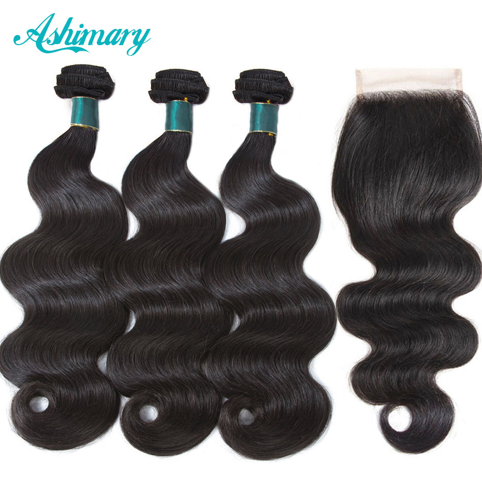 Ashimary Brazilian Body Wave Bundles With Closure 4x4 Free Part Human Hair Bundles With Lace Closures Remy Hair Natural Color