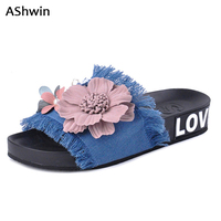 AShwin Eruo Stylish Demin Sandals Women Slippers Flats Lady Holidays Beach Shoes Flower Slippers Handmade Shoes