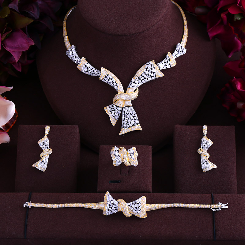 jankelly Luxury cubic zirconia necklace bracelet earrings and ring 4pcs dubai full jewelry set for women,bridal dress dinner a suit of stylish faux sapphire rhinestone necklace bracelet earrings and ring for women