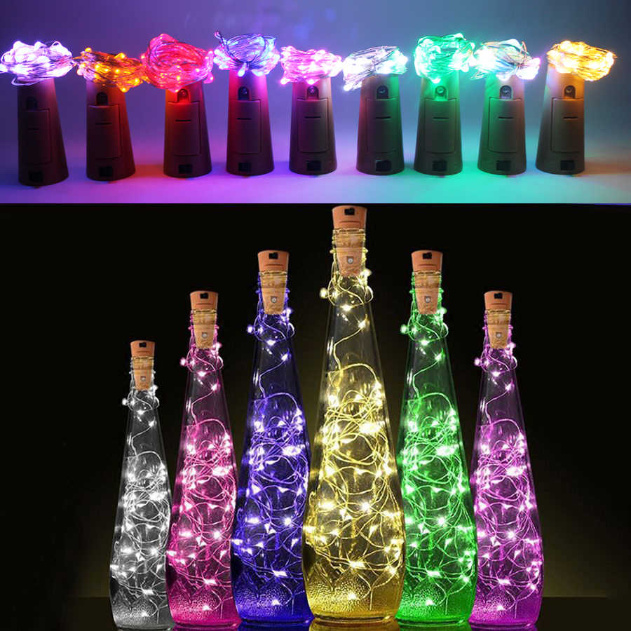 2m Copper Wire led string Light with Bottle Stopper for Glass Craft Bottle Fairy light Valentines Wedding Decoration Lamp Party