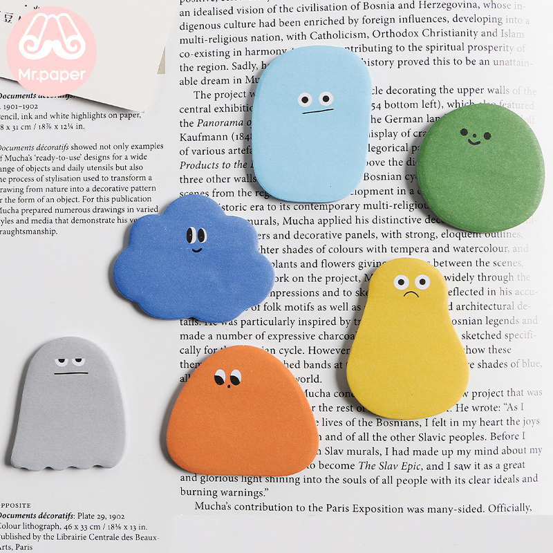 Mr Paper 30pcs/lot 12 Designs Cute Cartoon Memo Pads Sticky Notes Notepad Diary Creative Stationery Self-Stick Notes Memo Pads