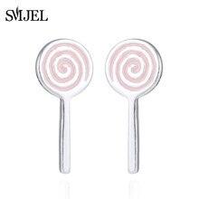 921e33f3 Smjel historieta del remolino Lollipops forma pendiente para las mujeres  caramelo dulce alimento Stud mujer jewery de plata rega.