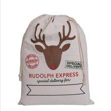 1pcs Gift Bag 50x70cm Christmas 9 styles drawstring Canvas Santa Sack Rustic Vintage Christmas stocking bags Decoration