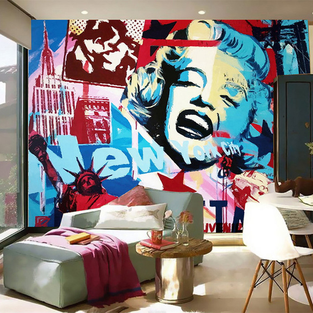 Modern Abstract Art Painted Characters Wall Mural Wallpaper Restaurant Clubs Ktv Bar Personality Decorative