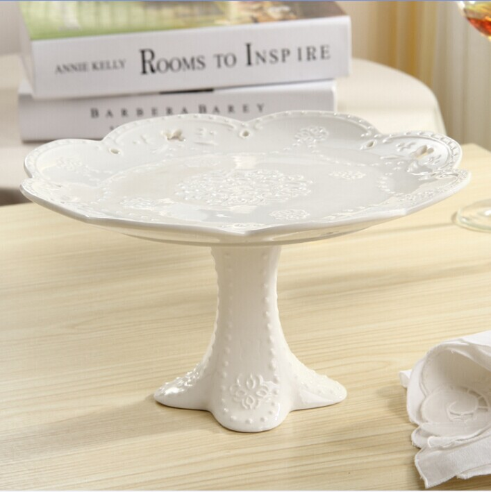 EMS fashion ceramic cake stand china plate fruit pan dessert wedding decor party supplies - Linda's lovely items store