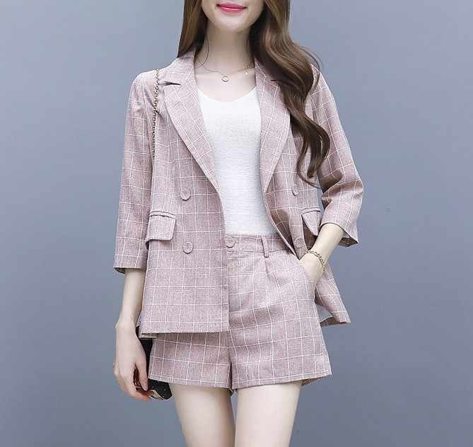 top and shorts pantsuit suit women business suits ladies autumn summer Breasted Notched Blazer Jacket Shorts Casual 2 Pieces Set