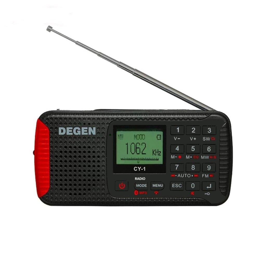 DEGEN cy-1 Динамо Солнечный непредвиденный Радио FM/mw/sw будильник коротковолновый Портативный Радио с ЖК-дисплей, SOS, Bluetooth, MP3, Регистраторы
