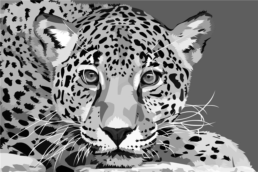 Custom canvas art leopard poster leopard animal wall for Black and white wallpaper for walls