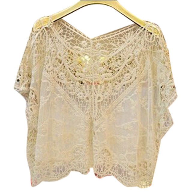 2016 hot sell Women Fashion Lace blouse Sweet hollow out pure color Flower Batwing Loose Blouse Shirt women Top 3812890