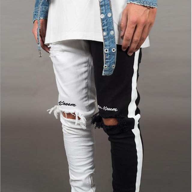 BDLJ 2019 Men Stylish Ripped Jeans Pants Biker Skinny Slim Straight Frayed Denim Trousers New Fashion Skinny Jeans Men Clothes 95