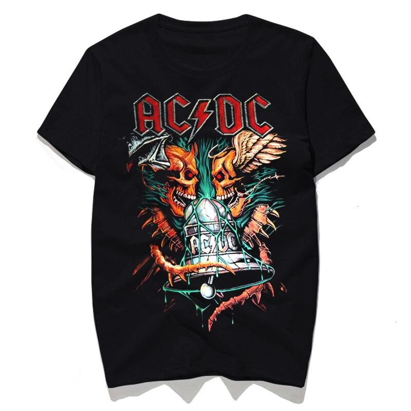 d597e06494d Rocksir 2017 AC DC hell bell Punk rock plus size Man T shirts Skull Short  sleeves Fashion Man tees 3D print high quality Men top-in T-Shirts from  Men s ...