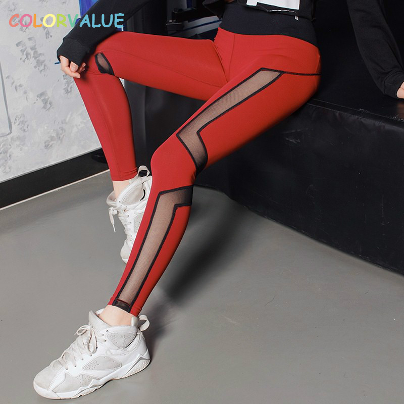 Colorvalue Quick Dry Patchwork Mesh Yoga Pants Women Breathable Training Gym Leggings Running Tights Jogging Pants Sportswear все цены