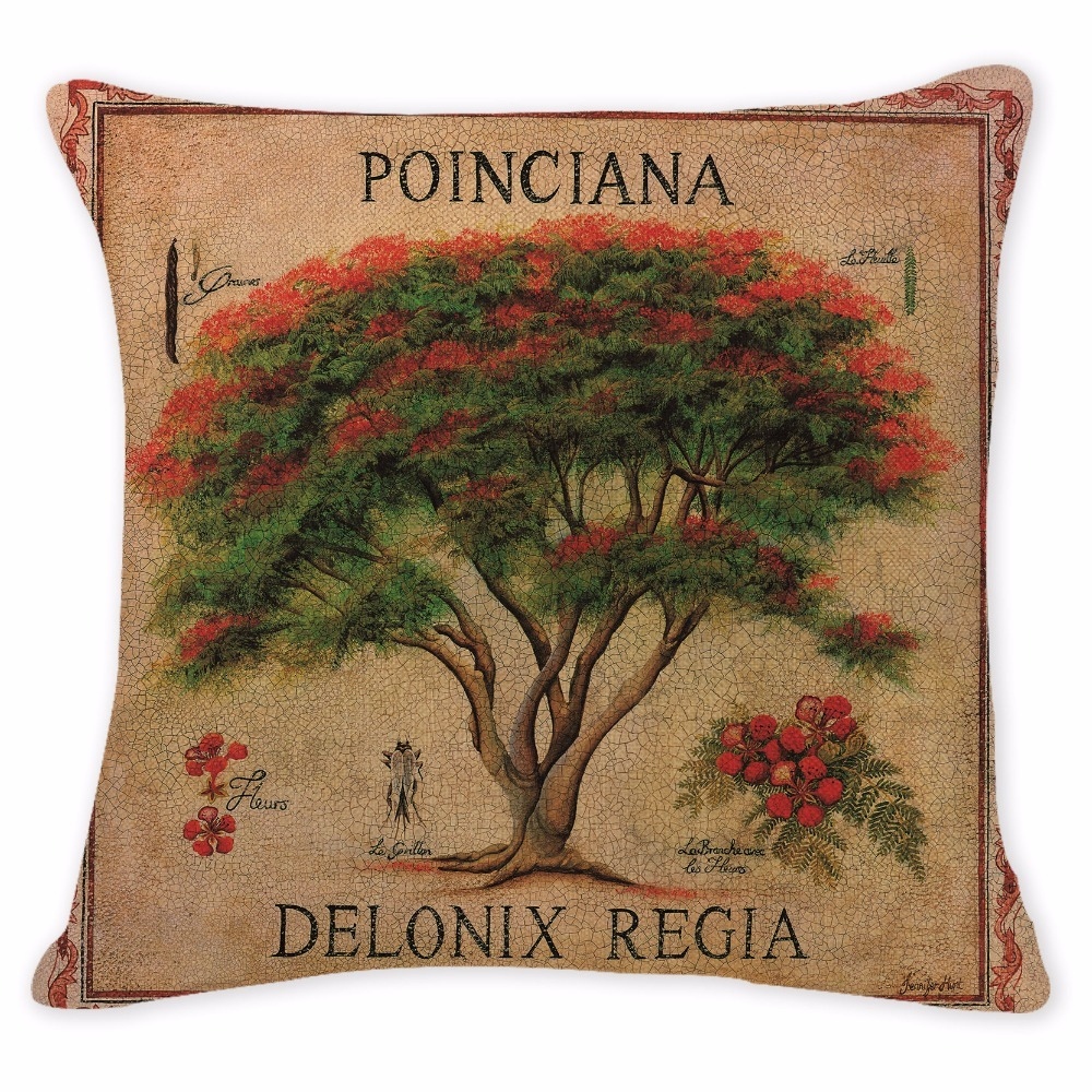 Gift Cushion Cover European Plant Ginkgo Maple Pillowcases Sofa Seat Square Cotton Linen Home Office Furniture Olives Kussenhoes