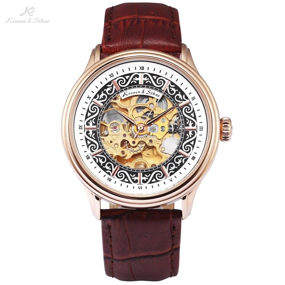 Kronen Sohne Vintage Watch for Men Male Rose Golden Steel Case Brown Leather Strap Hollow Erkek Kol Saati Mechanical / все цены