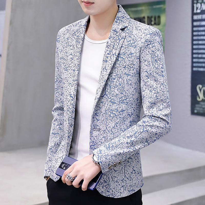 Spring 2019 Men's Leisure Blazer Thin Type Of Cultivate One's Morality Handsome Flowers Blazer