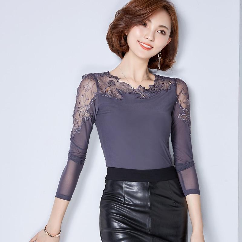 Blusas Mujer De Moda 2019 Vogue Lace Shirt Femme Girls Tops And Blouses Lengthy Sleeve Shirt Girls Tops Korean Vogue Clothes womens tops and blouses, shirt lengthy, lace shirt,Low-cost...