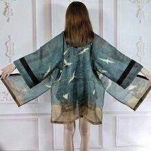 Kimono japonés Vintage suelto elegante cinturón fajas dibujo de calavera encaje Split prendas de vestir Mujer chaqueta de verano abrigo blusa Top camiseta
