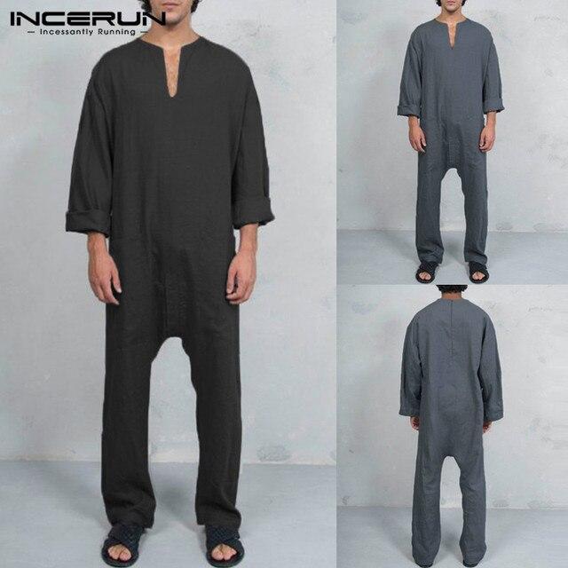 721a0e069b67 INCERUN Vintage Mens Jumpsuits Cotton Pants Overalls Pockets Casual Loose Trousers  Men Muslim Islamic Clothes Kaftan 2018 L-3XL