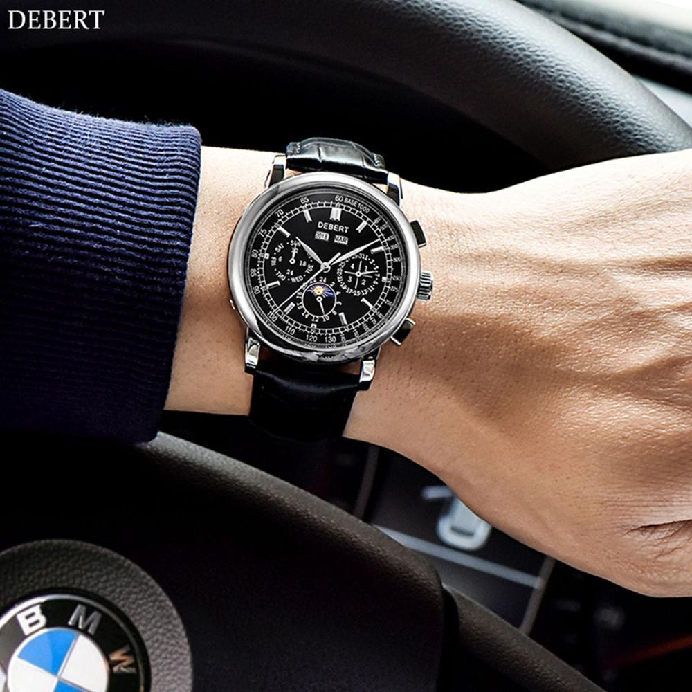 Debert Moon Phase Leather Mens Automatic Watches Men Wrist Watch 2019 Mens Watch Calendar Top Brand Luxury Sport Watch Clock