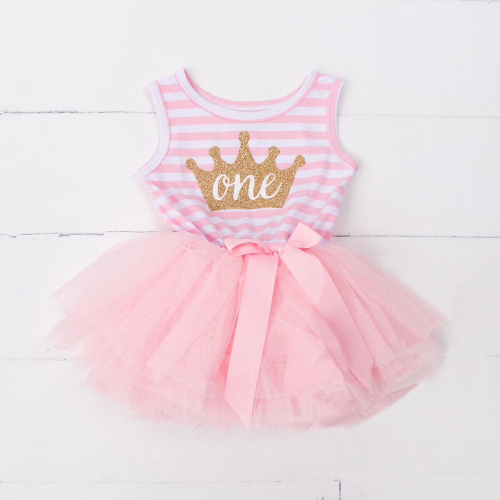 Princess Baby Girls First Birthday Dress Casual Outfit 1 2 3 Years Birthday Baby Toddler Dresses Clothes Stripe Summer Clothing