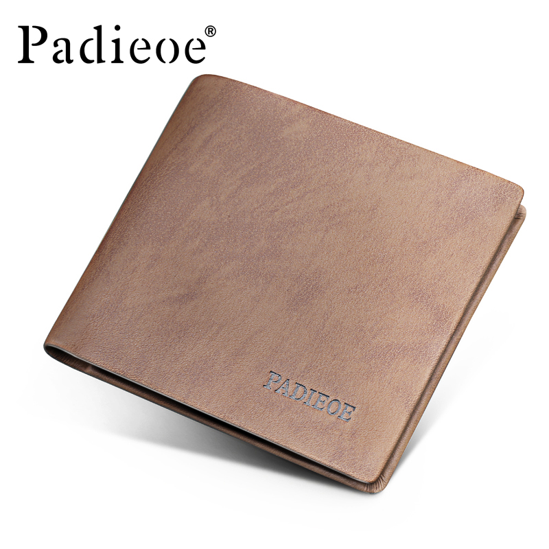 Padieoe Top Genuine Leather Soft Wallet Famous Brand Men Business Wallet Casual Card Holder Hot Sale Vintage Fashion Purse Male padieoe brand 2017 new men wallet genuine leather cowhide purse credit card wallet large capacity men s wallet free shipping