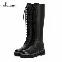British Vintage Black Women Knee High Boots Lace Up Side Zipper Botas Militares Flat Long Boots