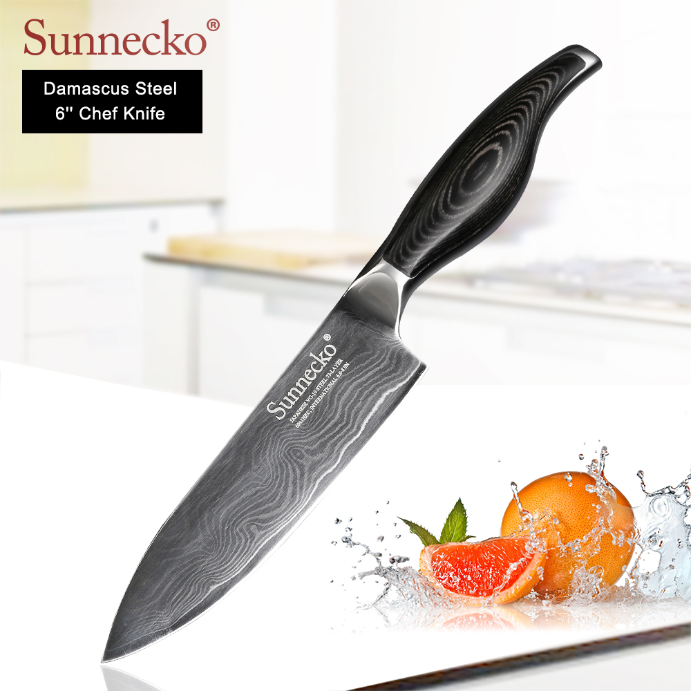 "SUNNECKO Premium 6"" inch Chef Knife Japanese VG10 Damascus Steel Sharp Meat Cutter kitchen knives Pakka Wood Handle Cooking Tool-in Kitchen Knives from Home & Garden    1"