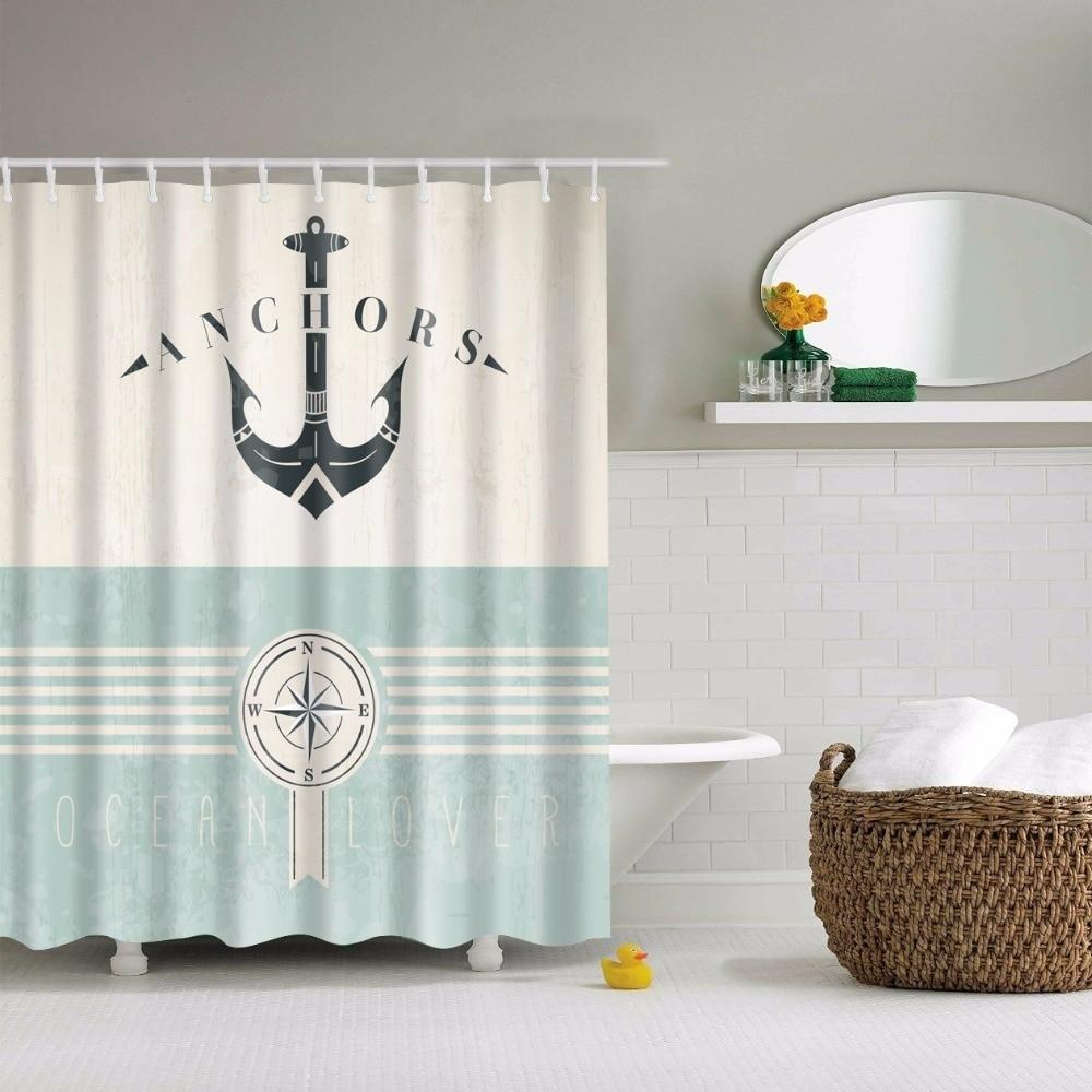 Dragonfly bathroom decor - Svetanya Anchors Print Shower Curtains Bath Products Bathroom Decor With Hooks Waterproof 71x71 China