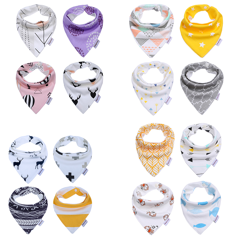 4Pcs /lot Cute Baby Bibs Soft Cotton Baby Bandana Toddler Newborn Towel Triangle Scarf Infant Bib Burp Burp Cloths 2017