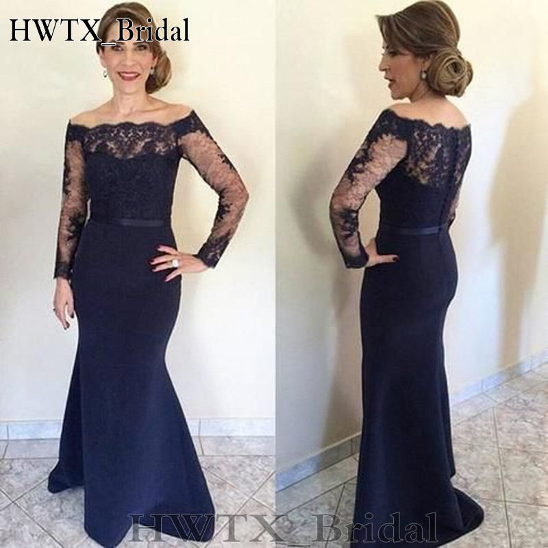 11.129.Dark Navy Lace Mermaid Mother Of The Bride Dresses Long Sleeve Off Shoulder Sweep Train Long Women Party Gowns Mother Wedding Guest Wear_conew1