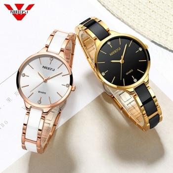 NIBOSI Women Watches Luxury Female Rose Gold Diamond Ladies Quartz Wrist Watch Waterproof Ceramic Relogio Feminino