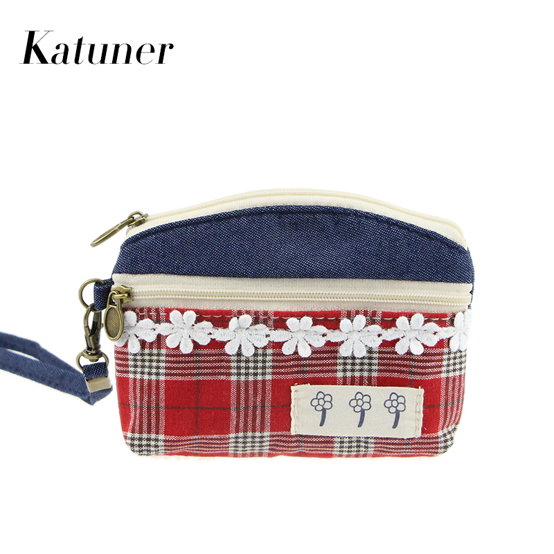 Katuner Hot Fashion Zipper Pouch Plaid Kids Canvas Coin Purse Women Key Card Money Bag Wallet For Children Porte Monnaie KB007