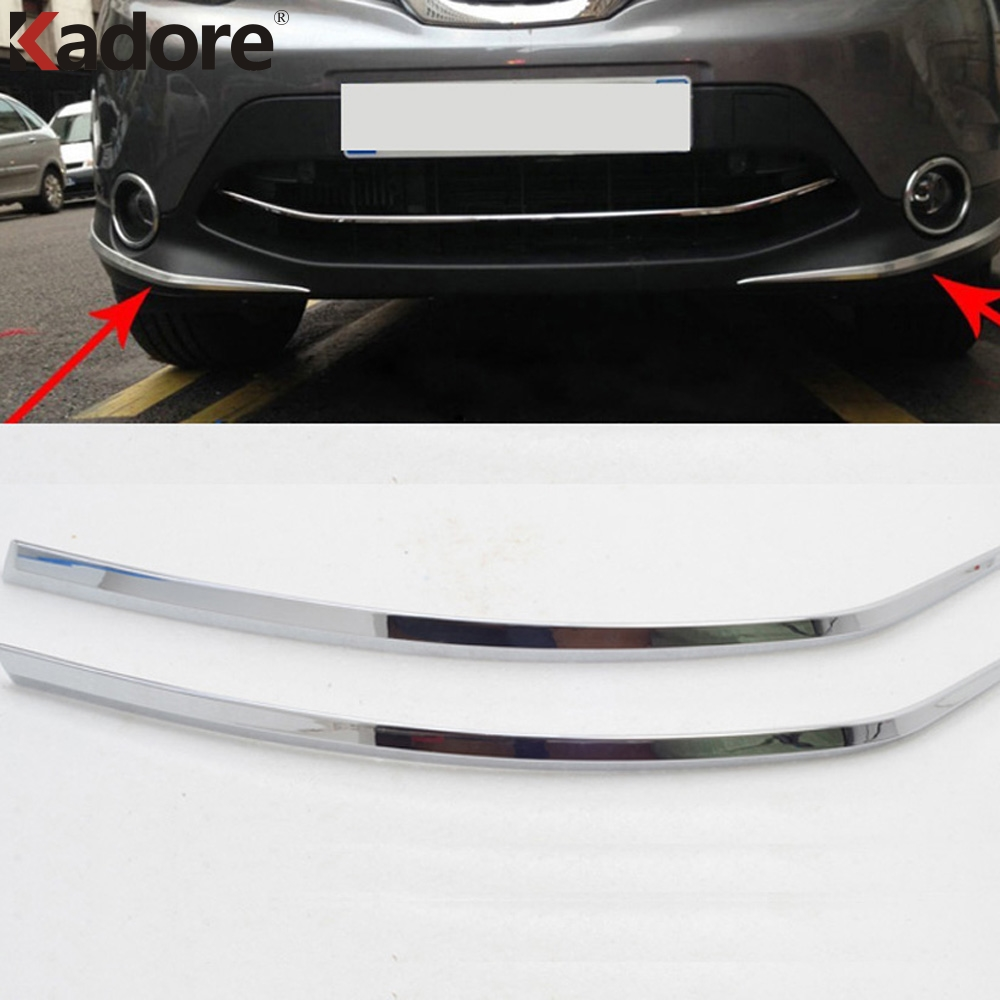 For <font><b>Nissan</b></font> <font><b>Qashqai</b></font> 2014 2015 <font><b>2016</b></font> ABS Chrome Front Bumper Foglight Eyelid Garish Strips Trim Exterior <font><b>Accessories</b></font> Car Styling image