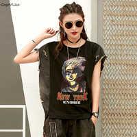 Harajuku Jean Patch Top Tee Punk Women Cartoon Tshirt 2019 New Summer Female Tee Shirt Punk Tee Shirt Korean Style LT074S50