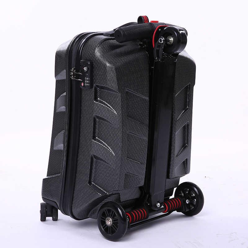 新 Designe 22 インチ TSA ロックスクーター荷物アルミスーツケースとホイールスケートボードローリング荷物トラベルトロリーケース