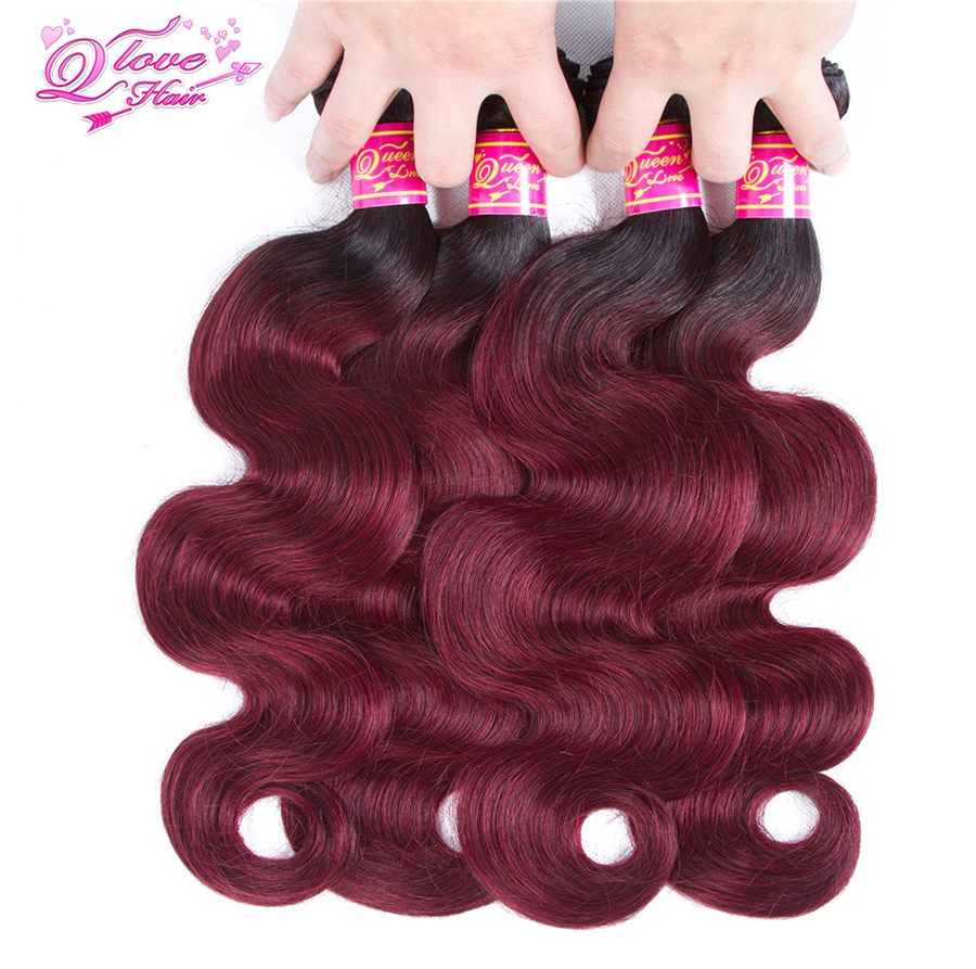 Queen Love Hair Pre-Colored Peruvian Body Wave Bundles With Closure Ombre 1B/99J 2Tone 100% Human Hair