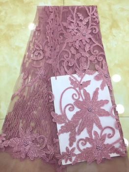 High quality nigerian lace fabrics mesh fabric tulle fabric with stones and beads french net lace fabric 2019
