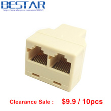 10pcs/lot Conector RJ45 8 Pin 8P8C Plug To 2 RJ45 Splitter Network Ethernet LAN Connecter Patch Cord Adapter cable tester