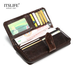 New Luxury Brand 100% Top Genuine Cowhide Leather High Quality Men Long Wallet with Zipper Cowhide Card Holders Clutch Bag
